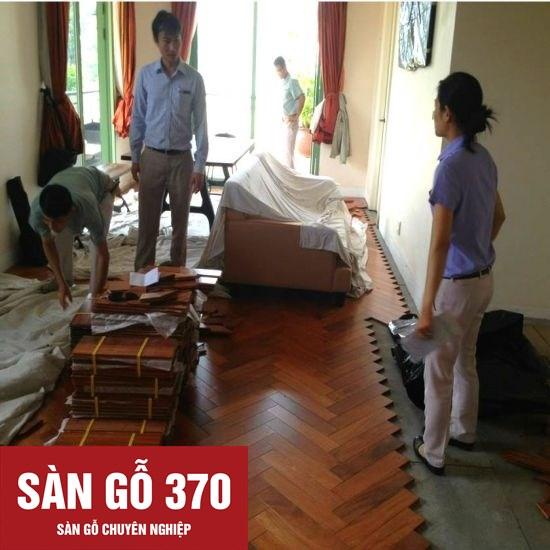 lắp đặt sàn gỗ tự nhiên căm xe xương cá